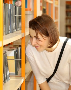 library, books, girl